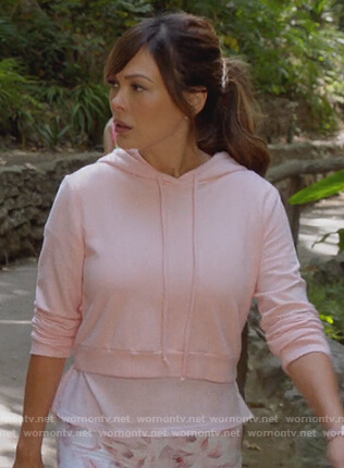Camille's pink cropped hoodie on The Talk