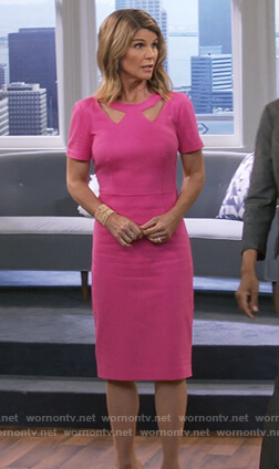 Rebecca's pink cutout sheath dress on Fuller House
