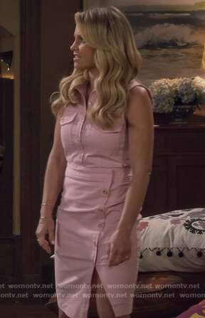 DJ's pink sleevless button front dress on Fuller House