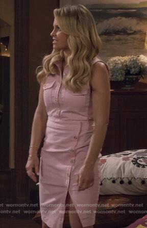 c5ac3c0695 WornOnTV  DJ s pink sleevless button front dress on Fuller House ...
