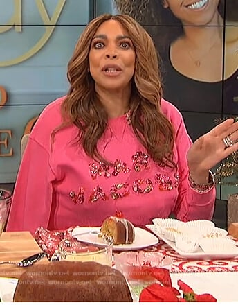 Wendy's pink Marc Jacobs logo embellished sweatshirt on The Wendy Williams Show