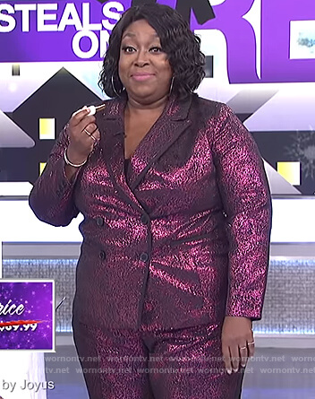 Loni's pink metallic blazer and pants on The Real