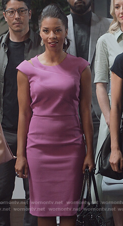 Catherine's purple shoulder cutout sheath dress on Marvel's Runaways