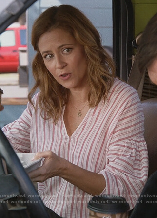 Lena's pink striped blouse on Splitting Up Together