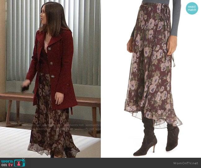 Polo Ralph Lauren Alina Midi Silk Wrap Skirt worn by Willow Tait (Katelyn MacMullen) on General Hospital