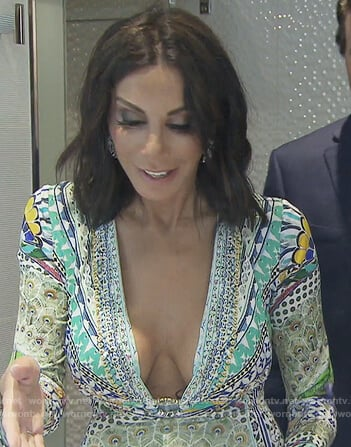 Danielle's peacock print dress on The Real Housewives of New Jersey