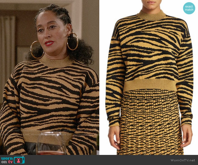 Proenza Schouler Tiger Jacquard Sweater worn by Rainbow Johnson (Tracee Ellis Ross) on Blackish
