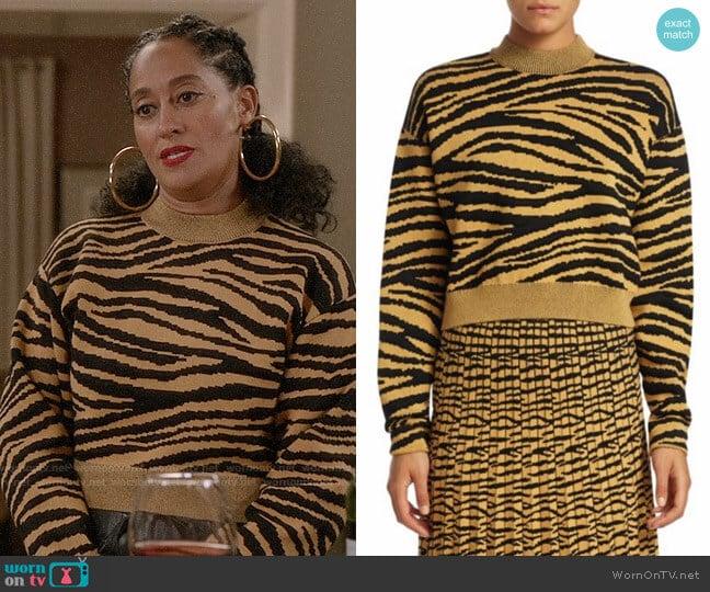 Proenza Schouler Tiger Jacquard Sweater worn by Rainbow Johnson (Tracee Ellis Ross) on Blackish