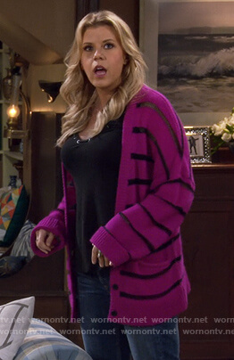 Stephanie's purple striped cardigan on Fuller House