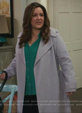 Katie's purple wrap coat on American Housewife