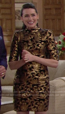 Quinn's black and gold dress on The Bold and the Beautiful