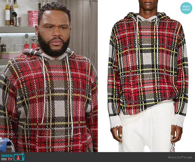 R13 Plaid Birdseye-Knit Cashmere Hoodie worn by Andre Johnson (Anthony Anderson) on Blackish
