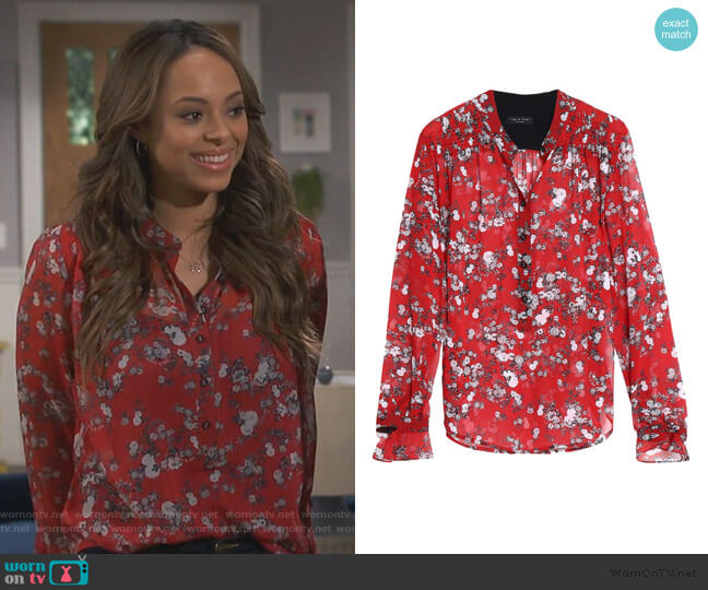 Susan floral-print silk-georgette blouse by Rag & Bone worn by Bonnie (Stephnie Weir) on Happy Together