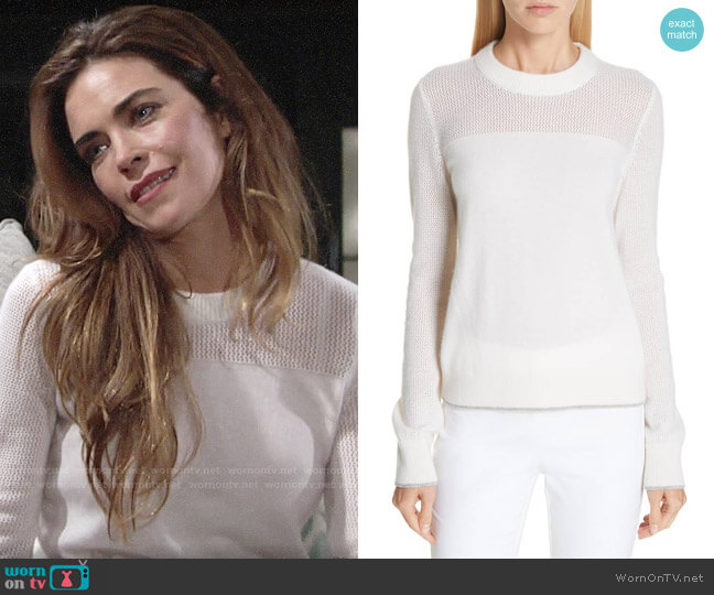 Rag & Bone Yorke Sweater in White worn by Amelia Heinle on The Young & the Restless