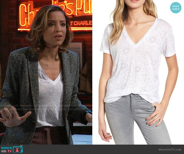 Rails Cara Star Print Tee worn by Valerie Spencer (Paulina Bugembe) on General Hospital