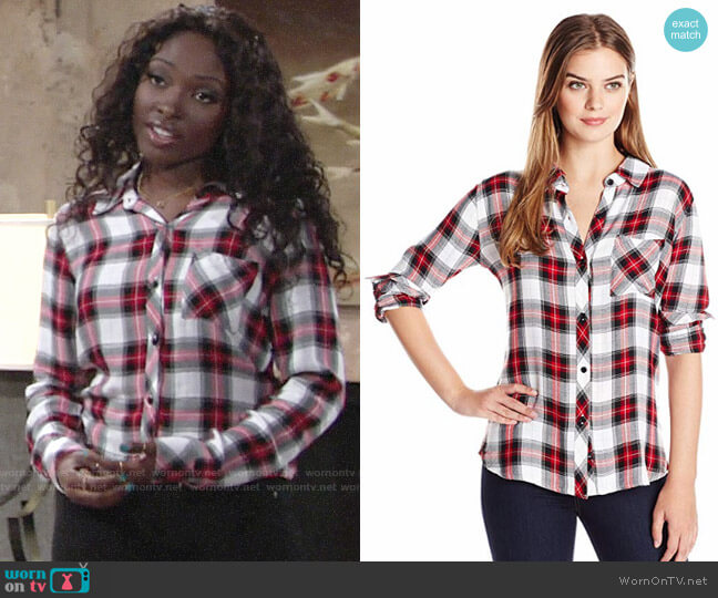 Rails Hunter Shirt in White / Red / Black worn by Loren Lott on The Young & the Restless