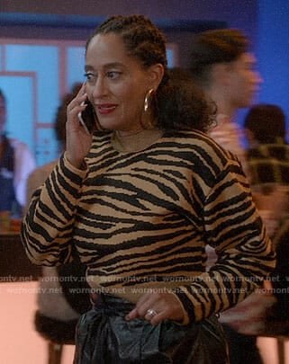 Bo's cropped tiger stripe sweater and leather pants on Black-ish
