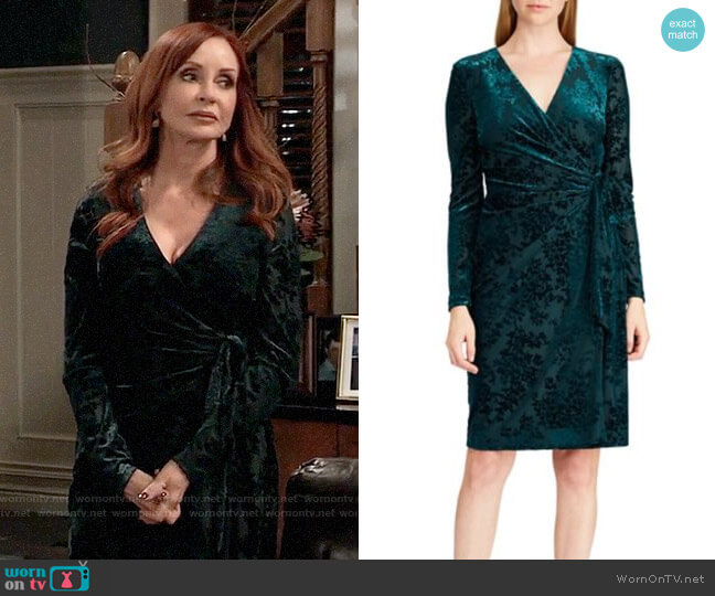 LAUREN Ralph Lauren Flocked Velvet Wrap Dress worn by Bobbie Spencer (Jackie Zeman) on General Hospital