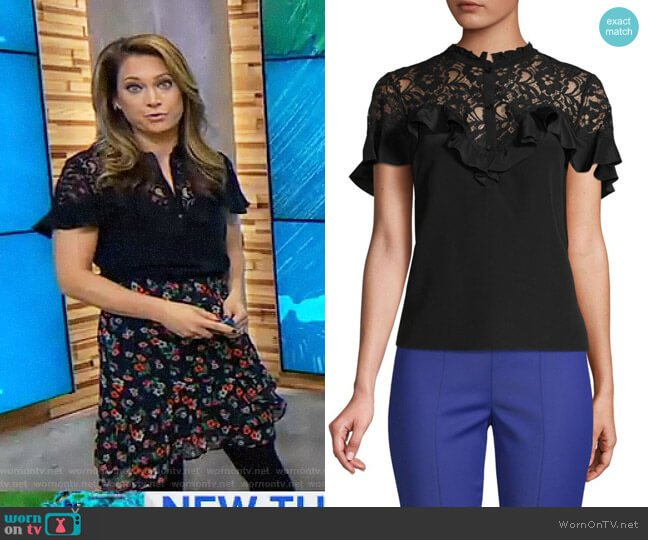 Lace Yoke Silk Blouse by Rebecca Taylor worn by Ginger Zee  on Good Morning America