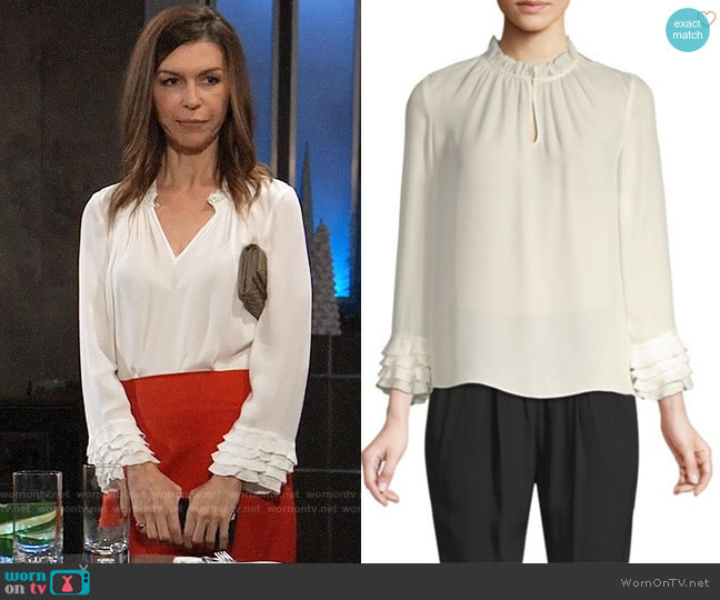 Rebecca Taylor Silk Ruffle Top worn by Anna Devane (Finola Hughes) on General Hospital