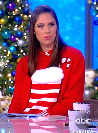 Abby's red christmas stocking sweater on The View