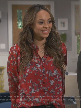 Bonnie's red floral print blouse on Happy Together