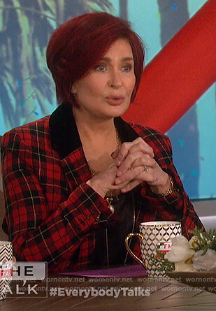 Sharon's red plaid blazer on The Talk