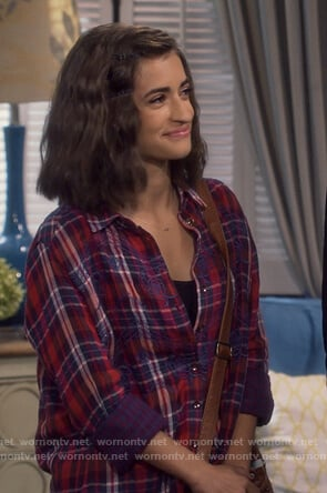 Ramona's red plaid embroidered blouse on Fuller House