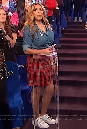 Wendy's red plaid skirt and white pearl embellished sneakers on The Wendy Williams Show