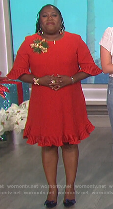 Sheryl's red pleated flounce dress on The Talk