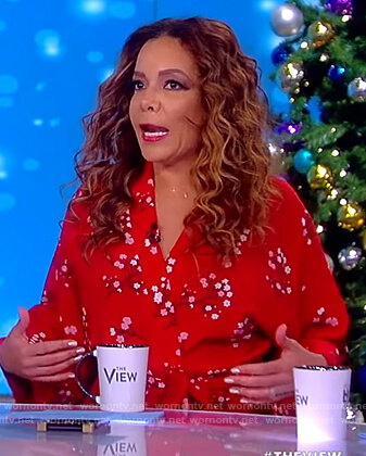 Sunny's red floral wrap maxi dress on The View
