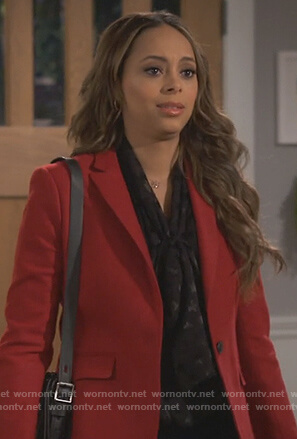 Claire's red blazer and star print top on Happy Together