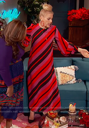 Busy's red striped maxi dress on Busy Tonight