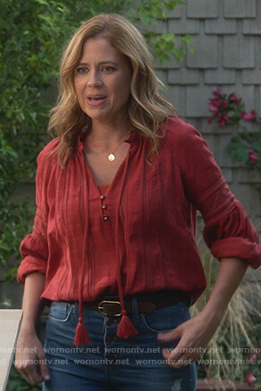 Lena's red tassel tie peasant top on Splitting Up Together