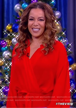 Sunny's red wrap midi dress on The View