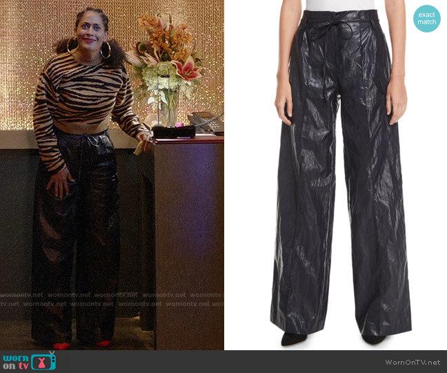 Rejina Pyo Eve High-Rise Crinkle Wide-Leg Pants worn by Rainbow Johnson (Tracee Ellis Ross) on Blackish