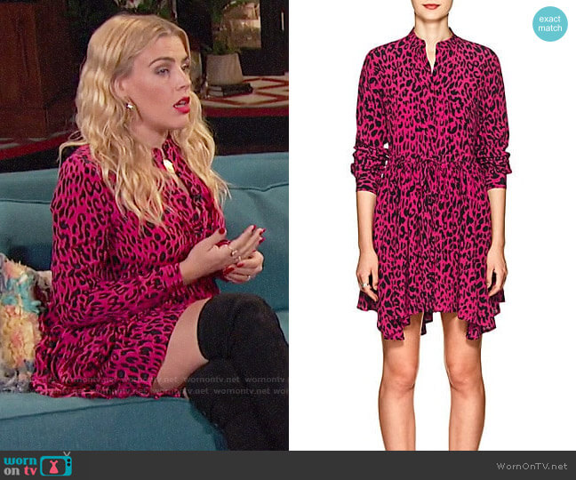 Robert Rodriguez  Leopard-Print Silk Tie-Waist Dress worn by Busy Philipps  on Busy Tonight
