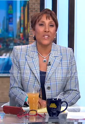 Robin's grey and blue plaid blazer on Good Morning America