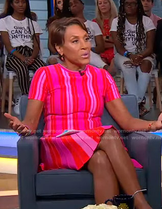 Robin's pink striped short sleeve dress on Good Morning America