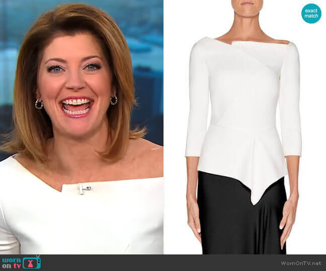'Almeley' Top by Roland Mouret worn by Norah O'Donnell (Norah O'Donnell) on CBS This Morning