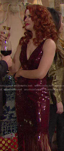 Sally's red fringed sequin dress on The Bold and the Beautiful