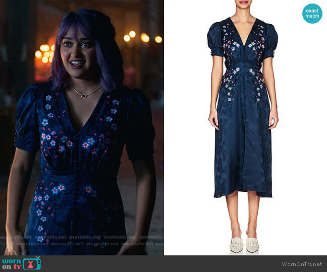 Lea Floral-Embroidered Silk Dress by Saloni worn by Gert Yorkes (Ariela Barer) on Marvels Runaways