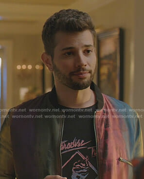 Sam's Paradise Trip tee and rainbow bomber jacket on Dynasty