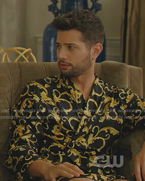 Sam's black printed robe on Dynasty