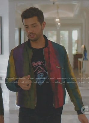 Sam's Paradise Trip tee and rainbow bomber jacket on Dynasty