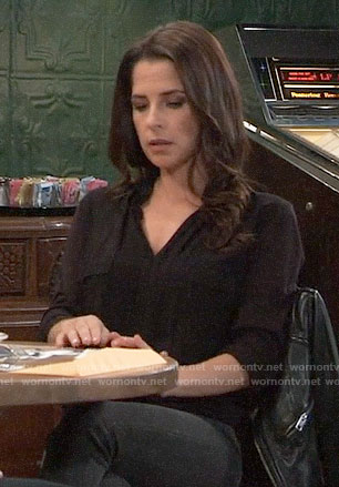 Sam's black flap pocket top on General Hospital