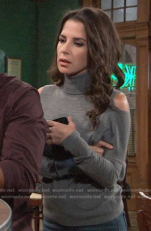 Sam's grey cold-shoulder turtleneck on General Hospital