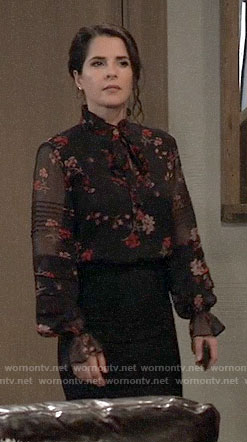 Sam's floral tie-neck blouse on General Hospital