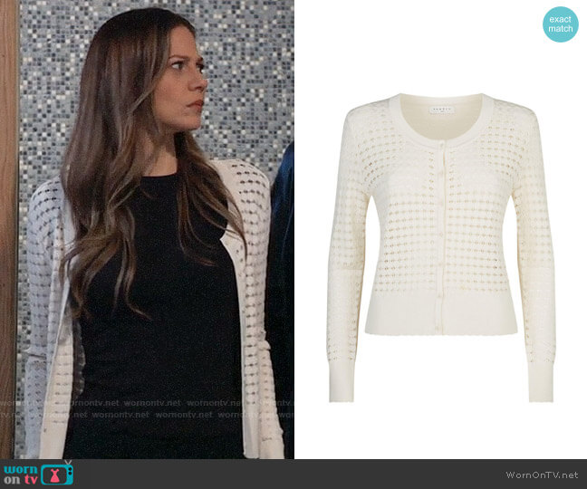 Sandro Knitted Cut-out Cardigan worn by Kim Nero (Tamara Braun) on General Hospital