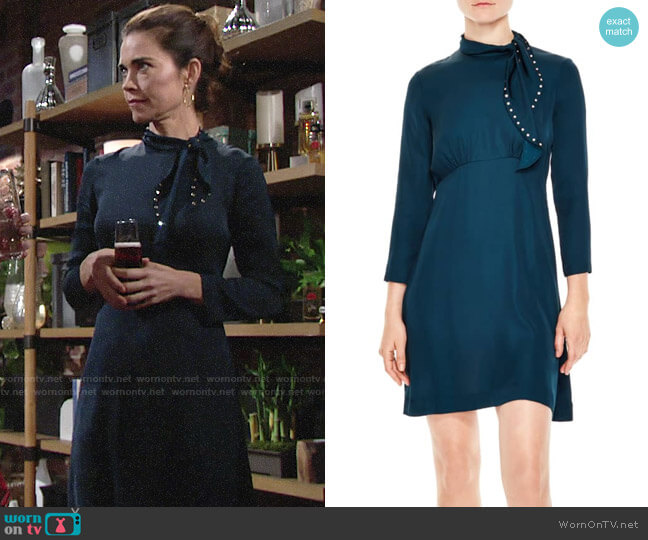 Sandro Embellished Tie Neck Dress worn by Victoria Newman (Amelia Heinle) on The Young & the Restless